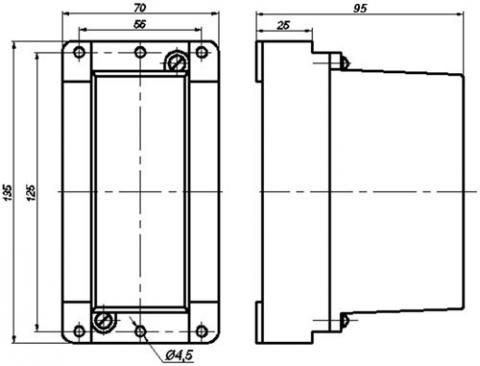 Рис.1. Габаритные и присоединительные размеры реле промежуточного ПЭ44