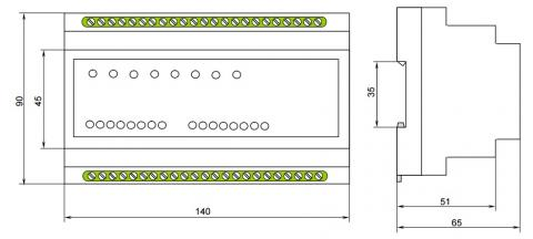 Рис.1. Габаритные и присоединительные размеры устройства сбора дискретных данных