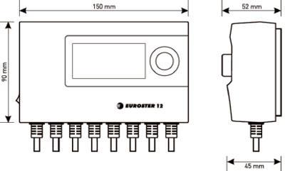 Рис.1. Габаритные размеры Euroster 12 контроллера