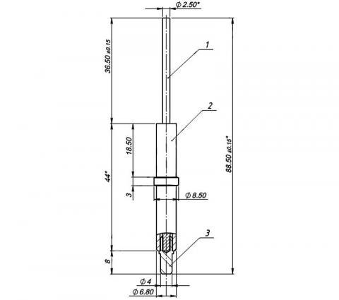 Рис.1. Габаритный чертеж электрода контроля пламени МК 1443.04.00.600, где: 1. Стержень; 2.Корпус электрода; 3. Контакт электрода