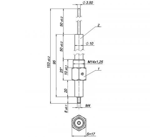 Рис.1. Габаритный чертеж электрода розжига МК 1443.00.00.00.780, серия 1443-780