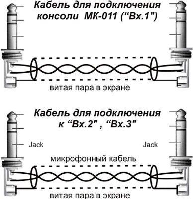 Рис.1. Распайка микрофонного кабеля для подключения консоли МК-011 ко входу усилителя мощности серии AS-50AS-100AS-210AS-400AS-600
