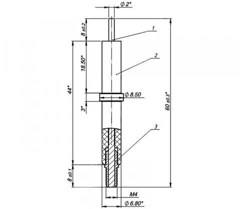 Рис.1. Схема габаритных размеров электрода розжига МК 1443.04.00.100