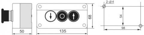 Рис.1. Схема габаритных размеров поста управления XAL-B334