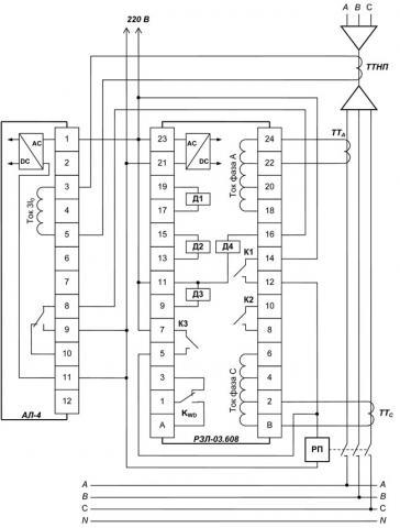 Рис.1. Схема подключения устройства РЗЛ-03.608