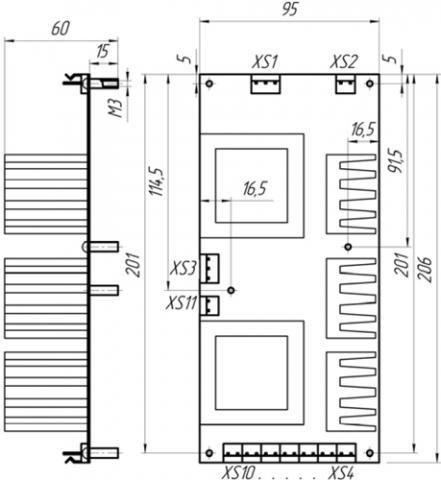 Рис.2. Габаритные и присоединиетльные размеры источника вспомогательного электропитания ИВЭ-1
