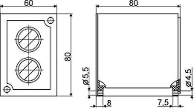 Рис.2. Габаритные и присоединительные размеры  реле времени ВЛ-51А