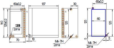Рис.2. Габаритные и присоединительные размеры реле