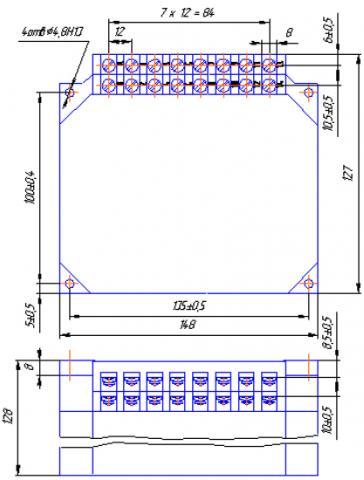 Рис.2. Габаритные и установочные размеры реле ВС44-3, ВС44-4