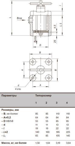 Рис.2. Габаритные размеры фильтра щелевого  встраиваемого