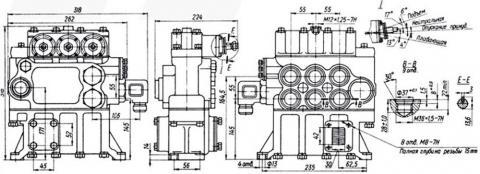 Рис.2. Габаритные размеры гидрораспределителя Р160-3-1-111-10