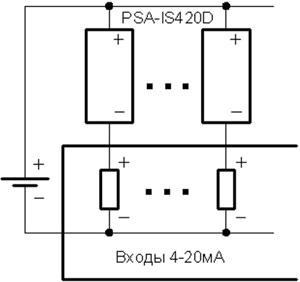 Рис.2. Подключение имитаторов к устройству с несколькими входами