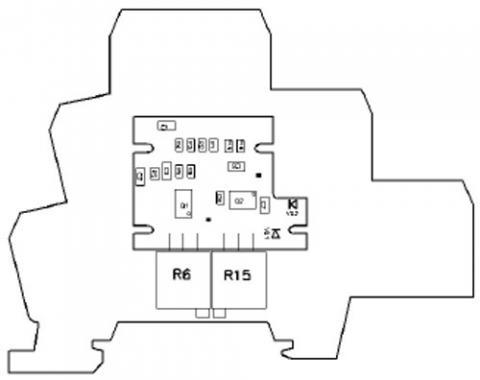 Рис.2. Расположение регулировок на плате преобразователя