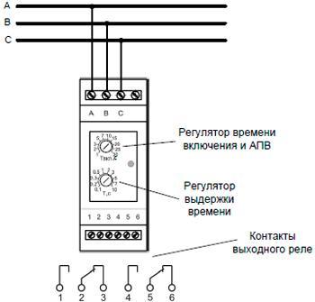 Рис.2. Схема подключения реле контроля напряжения ЕЛ-М11