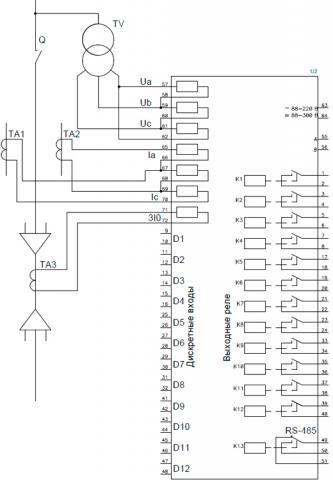 Рис.2. Схема подключения внешних цепей c двумя ТТ к устройству