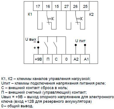 Рис.2. Схема внешних подключений реле ВЛ-159М-2