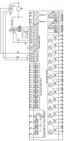 Рис.2. Схема подключения внешних цепей РЗЛ-05.И1 ТН02