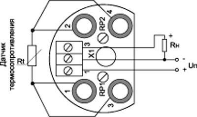 Рис.2.Схема подключения преобразователя PSA-02.03.ХХ.ХХ.ХХ