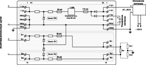 Рис.3. Функциональная схема блока искрозащиты PSA-03Ex.03