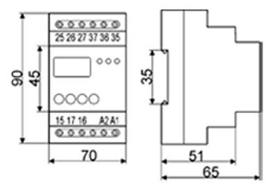 Рис.3. Габаритные и присоединительные размеры таймера РВЦ-03-2