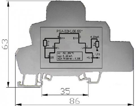 Рис.3. Габаритные и установочные размеры преобразователя