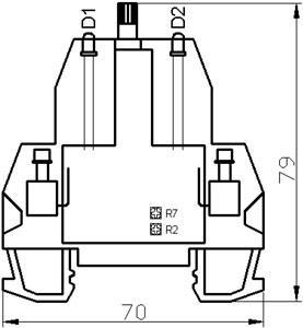 Рис.3. Габаритные размеры и расположение подстроечных резисторов
