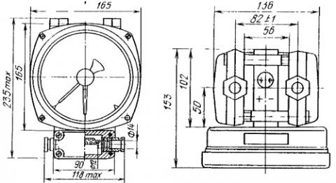 Рисунок.1. Габаритный чертеж ДСП-4Cr-M1 дифманометра