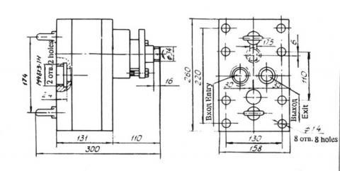 Схема габаритов насоса НШ-150НИ4