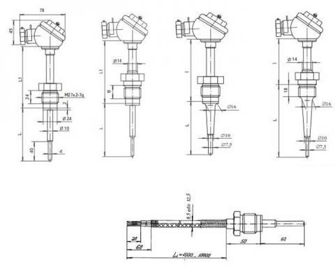 Схема габаритов термопреобразователя ТСП-8040