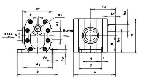 Схема габаритов насосов Г11-22А,  Г11-22