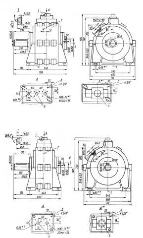 Схема габаритов насосов серии НР2