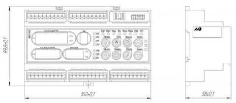 Схема габаритов контроллера МИК-52Н