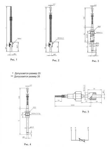 Схема габаритов и соединения термопреобразователей ТСМ-1388, ТСП-1388