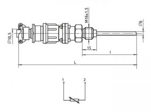 Схема габаритов и соединения термопреобразователя ТСМ-364-01