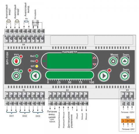 Схема подключения блока управления БРУ-110Н