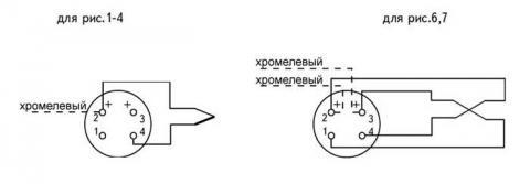 Схематическое изображение соединений преобразователей ТХА-1072, ТХК-1072