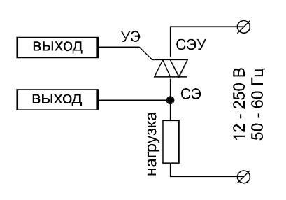 Схема подключения симисторов ТС 122-25, ТС 142-80