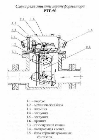 Схема реле защиты трансформатора РЗТ-50