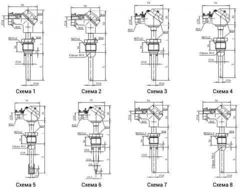 Схема габаритов преобразователя ТХА-1172Р