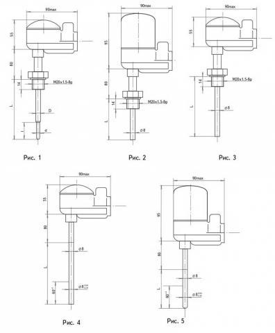 Схема габаритов преобразователей ТСМ-1187, ТСП-1187
