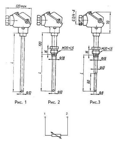 Схема габаритов и соединения преобразователя ТСМ-1188