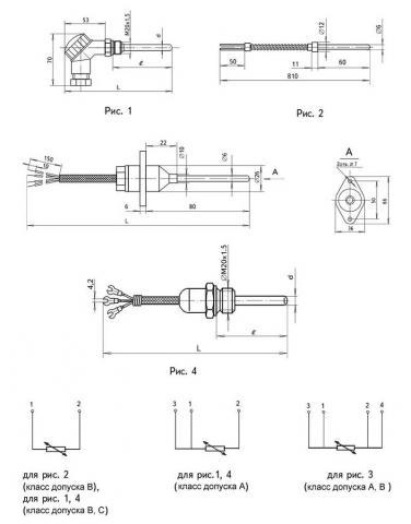 Схема габаритов и подключения преобразователей ТСМ-1288, ТСП-1288