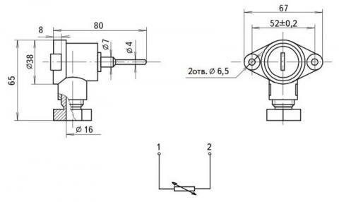 Схема габаритов и соединения преобразователей ТСМ-8045Р, ТСП-8045Р