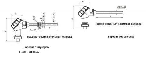 Схема габаритов преобразователей ТСМУ-0198, ТСПУ-0198, ТХАУ-0198