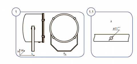 Схема монтажа Прожектора НО16В