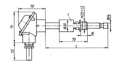 Схема габаритов преобразователей ТХА-2588, ТХК-2588
