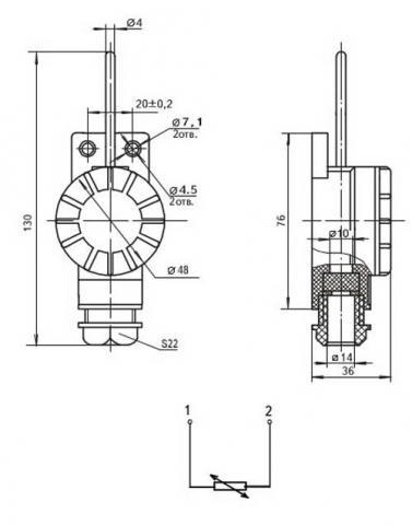 Схема габаритов преобразователей ТСМ-1290, ТСП-1290