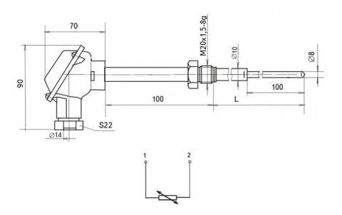 Схема габаритов и подключения термопреобразователя ТСМР-1291