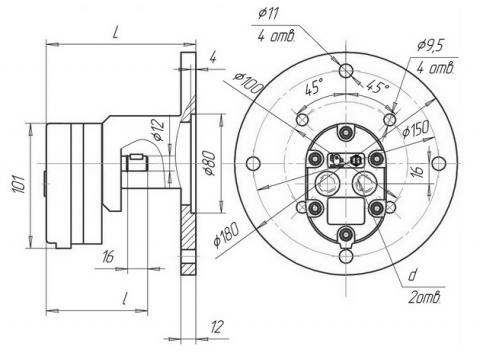 Схема габаритов насосов ВГ11-11, ВГ11-11А